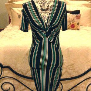 3/$35 Derek Heart striped cold shoulder dress